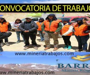 TRABAJOS PARA MINERIA EN BARRICK REQUIEREN CONTRATAR PERSONAL PARA PROYECTO MINERO