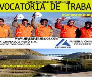TRABAJOS PARA MINERIA CHINALCO REQUIERE CONTRATAR PERSONAL PARA PROYECTO MINERO