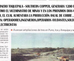 Proyecto Minero de Cobre Minera Southern Copper – Toquepala generará 1200 puestos de trabajos