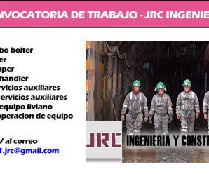 CONVOCATORIA DE TRABAJO – JRC INGENIERIA REQUIERE CONTRATAR PERSONAL