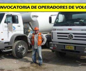 CONVOCATORIA JUNIO SE SOLICITA 20 OPERADORES DE VOLQUETE PARA SAN MARTIN CONTRATISTAS