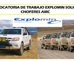 TRABAJOS PARA MINERIA SE SOLICITA CHOFERES DE CAMIONETA PARA EXPLOMIN
