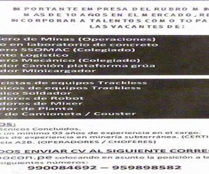 CONVOCATORIA DE TRABAJO EN IMPORTANTE COMPAÑIA MINERA REQUIERE CONTRATAR PERSONAL PARA PROYECTO