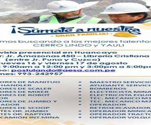 TRABAJOS PARA MINERIA EN COMPAÑIA AESA REQUIERE CONTRATAR PERSONAL PARA PROYECTO