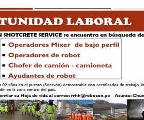 TRABAJOS PARA MINERIA EN ROBOCON REQUIEREN CONTRATAR PERSONAL PARA PROYECTO MINERO