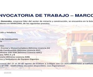 TRABAJOS PARA MINERIA SAN MARTIN – RECLUTAMIENTO DE TRABAJO AGOSTO 2018