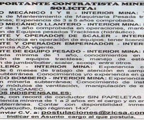 TRABAJOS PARA MINERIA EN EMPRESA CONTRATISTA MINERA SOLICITA PERSONAL PARA PROYECTO MINERO