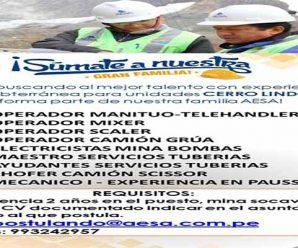 TRABAJOS PARA MINERIA EN AESA REQUIERE CONTRATAR PERSONAL PARA PROYECTO MINERO