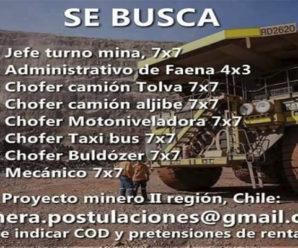 TRABAJOS DE MINERÍA EN FAENA MINERA DE LA SEGUNDA REGIÓN