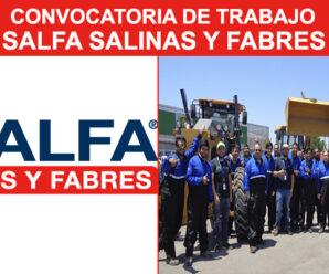 CONVOCATORIA DE PERSONAL EN SALFA SALINAS Y FABRES