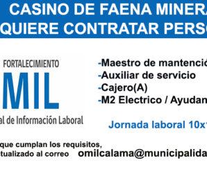 CASINO DE FAENA MINERA REQUIERE CONTRATAR PERSONAL