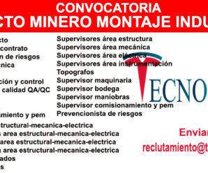 TECNOCORP CONVOCATORIA PARA PROYECTO MINERO MONTAJE INDUSTRIAL