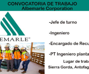 CONVOCATORIA DE TRABAJO Albemarle Corporation